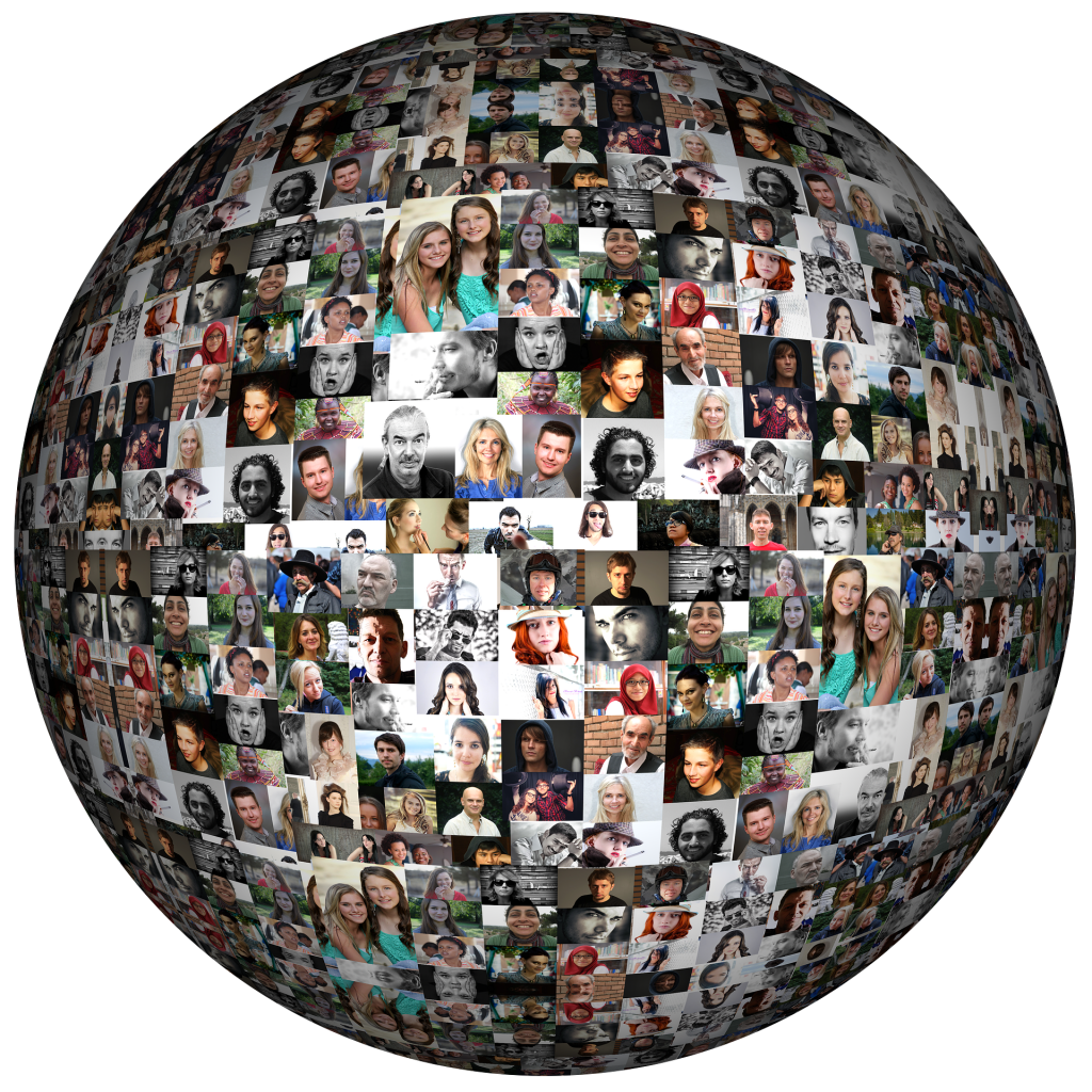 Globe of the world made up of people's faces